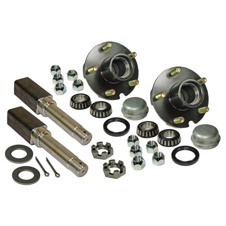 - Pair of 5-Bolt On 4-1/2 Inch Trailer Hub Assemblies - Includes (2) Square Shaft 1-1/16 Inch Straight Spindles & Bearings