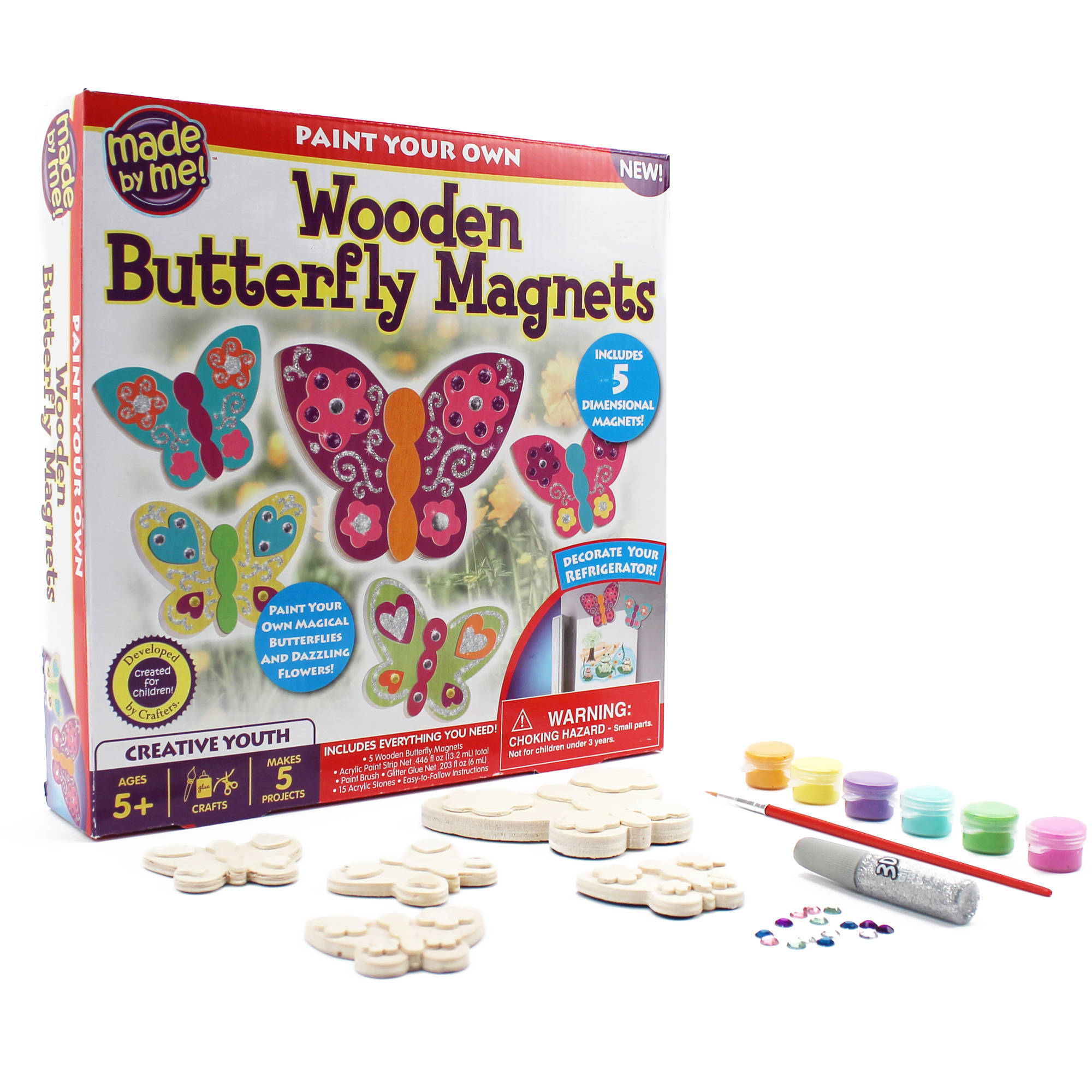 Kids wood craft kits - Kids Craft Made By Me Wooden Butterfly Magnets Kit