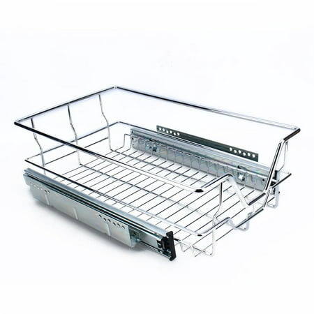 Kitchen Sliding Cabinet Organizer Pull Out Chrome Wire Storage