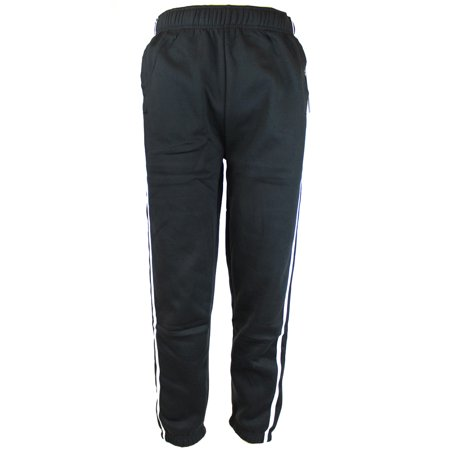 Black Mens Heavyweight Athletic Fleece Sweatpants with Elastic Waist & Cuffs