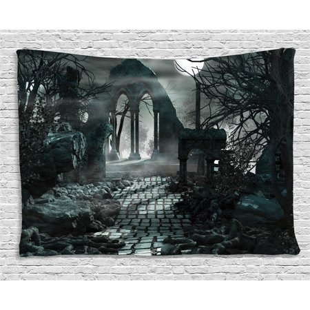 Gothic Decor Tapestry, Full Moon Light over Medieval Temple Ruins at Night Dark Scary Backdrop Image, Wall Hanging for Bedroom Living Room Dorm Decor, 60W X 40L Inches, Blue Grey, by Ambesonne (Gothic Mansion Wall Decor)
