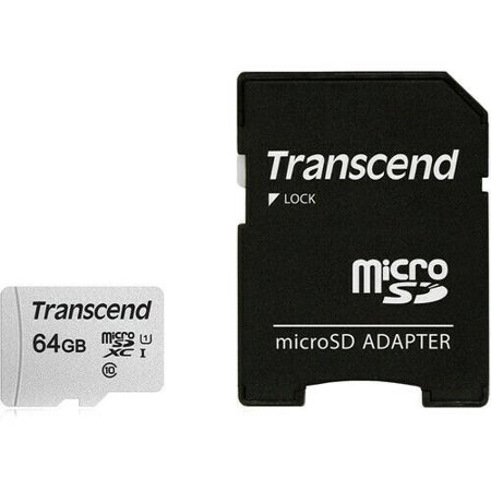 Transcend 64GB 300S UHS-I micro SDXC Memory Card with SD