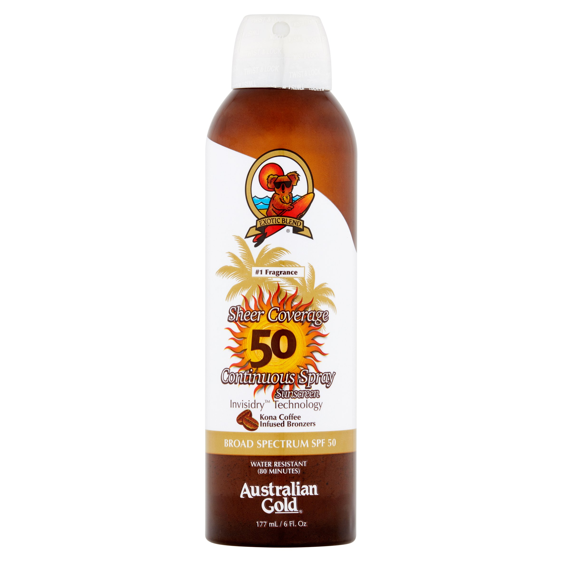 Australian Gold LLC Max Strength Continuous Spray Sunscreen SPF 50 Australian Gold Sheer Coverage, 6 fl oz