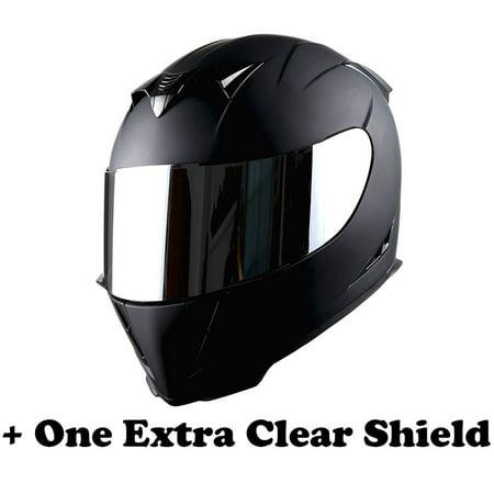 - 1Storm Motorcycle Full Face Helmet Street Bike Skull King HJK311 + One Extra Clear Shield; Matt Black