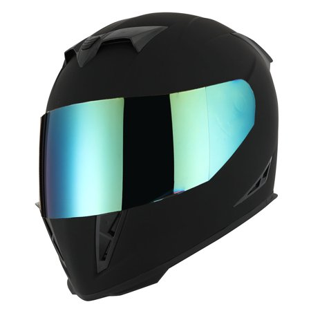1Storm Motorcycle Full Face Helmet Street Bike Skull King HJK311 + One Extra Clear Shield; Matt Black