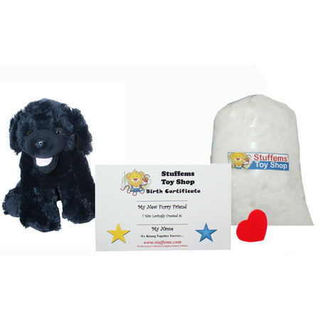 Make Your Own Stuffed Animal Mini 8 Inch Plush Black Lab Dog Kit - No Sewing - Make Your Own Dog