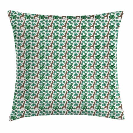 Giraffe Throw Pillow Cushion Cover, Spotty African Animal Figures with Green Palm Monstera Leaves and Brown Dots, Decorative Square Accent Pillow Case, 18 X 18 Inches, Green Brown White, by -
