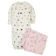 Modern Moments by Gerber Baby Girl Gown and Swaddle Blanket, 2-Piece Set, 0/6 Months