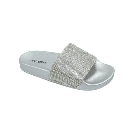 b7bf70061ca9 Soda - Sylvia Soda Footbed Shoes Bling Rhinestone Crystal Slides ...