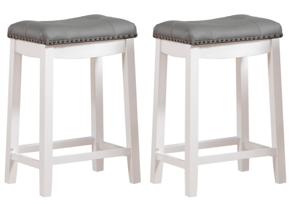 Angel Line Cambridge 24  Padded Saddle Stool White w/ Gray Cushion Set  sc 1 st  Walmart & Angel Line Cambridge 24