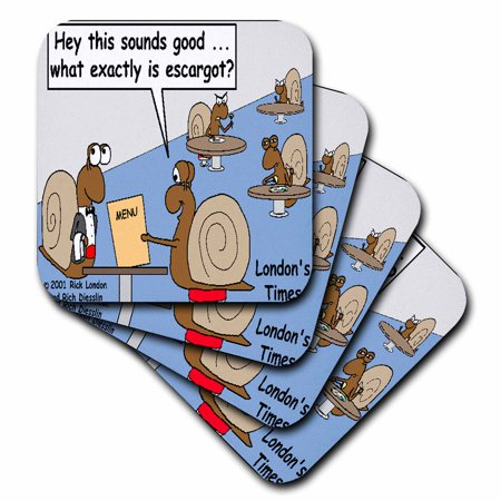 Ceramic Escargot - 3dRose Snail Orders Escargot , Ceramic Tile Coasters, set of 4
