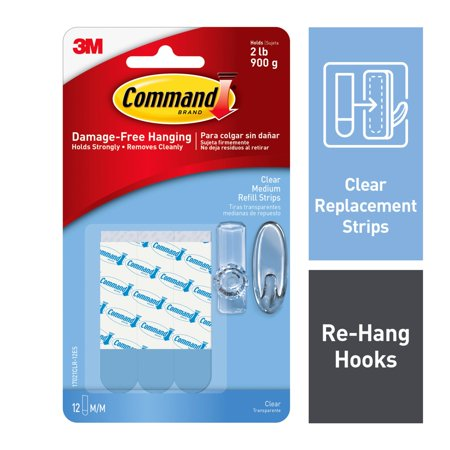 Command Refill Strips, Clear, Medium, 12 Strips/Pack