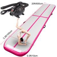 Inflatable Air Track Tumbling Gymnastics Mat Crash Floor Yoga Training 6m pink