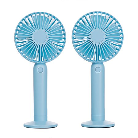 Swiss Crafts Portable Mini Fan, USB Rechargeable Battery Powered Handheld Fan with Base, 3 Step Speed, 5 Blades High Compatibility Mini Fan(2 SET, Light Blue)