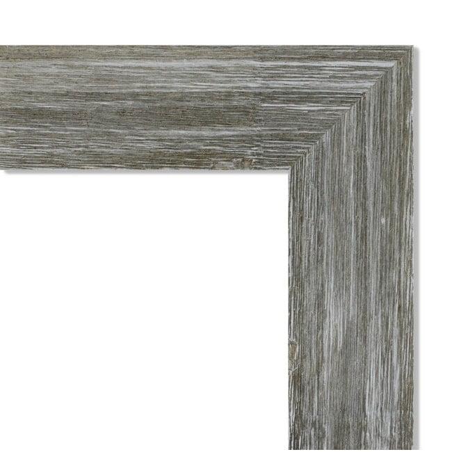Amanti Art Framed Beige Cork Board, Fencepost Grey Narrow