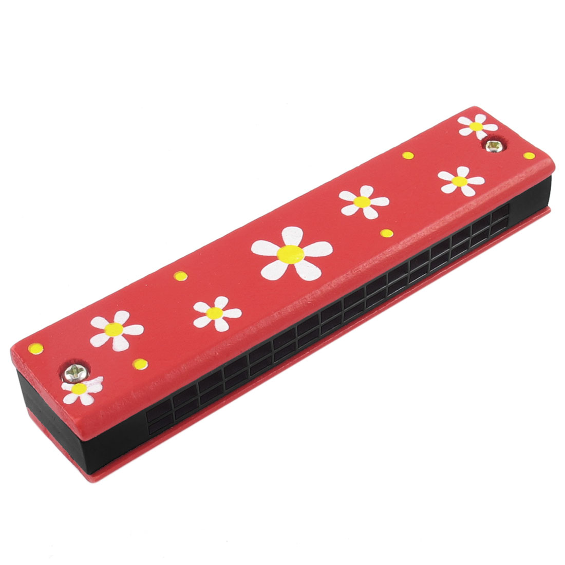 Portable Wooden Harmonica Mouth Organ w Dual Rows 32 Holes Red Floral Print Educational Toy for Children