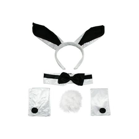 Tuxedo Playboy Bunny Tail Ears Rabbit Costume Accessory Kit Cocktail Headband - Bunny Tuxedo