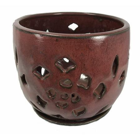 Flower Cut Glazed Ceramic Orchid Pot/Saucer - Ox Blood - 5