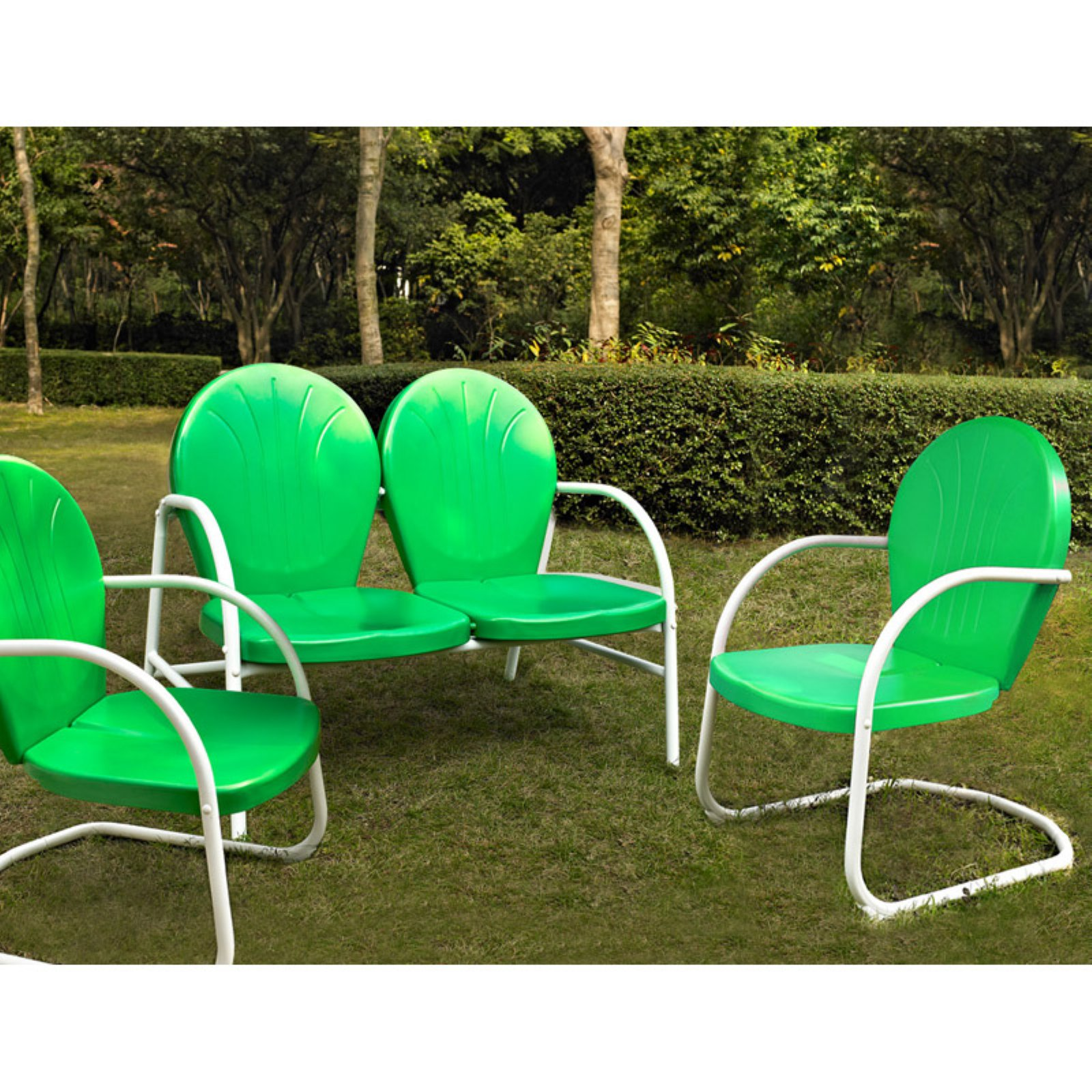 Crosley Furniture Griffith 3-Piece Metal Outdoor Conversation Seating Set