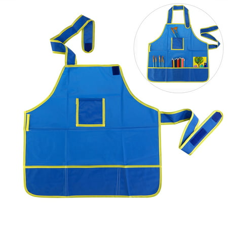 Childrens Art Smock - ULTNICE 3-12 Years Children Waterproof Smock Approx. 19*18.7 inch Art Craft Apron For DIY Painting Drawing (Blue)