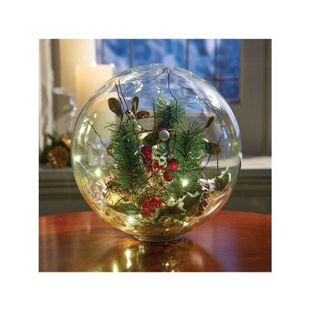 Art & Artifact LED Lighted Glass Holiday Orb - Hand-Blown Glass Globe Seasonal Decor - Battery Operated
