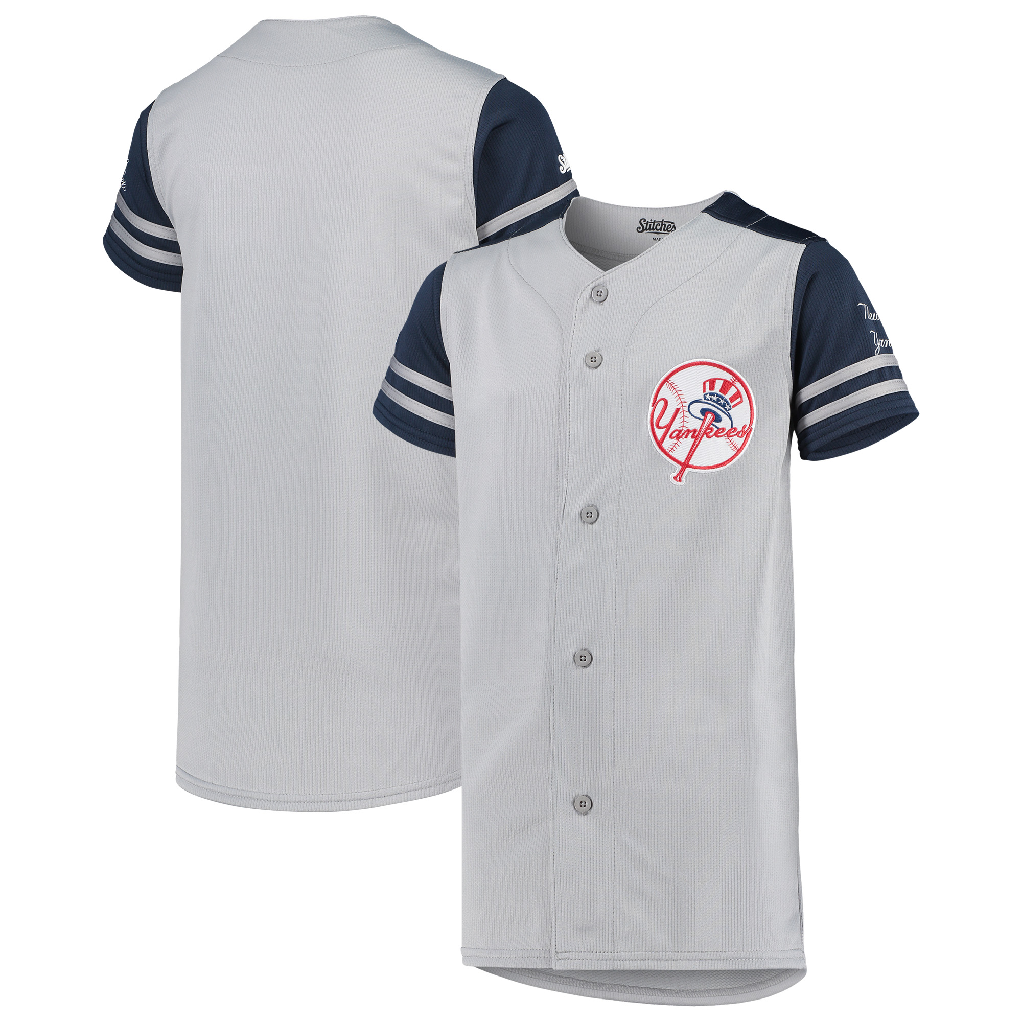 New York Yankees Stitches Youth Team Jersey - Gray/Navy