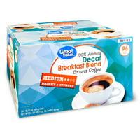 Great Value 100% Arabica Decaf Breakfast Blend Coffee Pods, Medium Roast, 96 Count