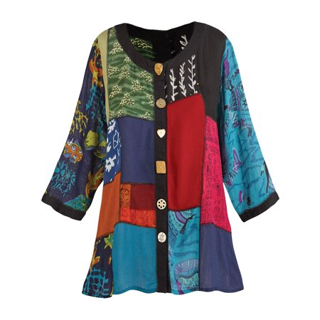 Jacket Tunic Skirt (Women's Open Front Tunic Top - Novelty Button Patchwork Fashion Jacket)