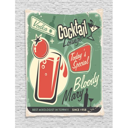 1950S Decor Wall Hanging Tapestry, Nostalgic Poster Bar Art For Today'S Special The Famous Cocktail Bloody Marry And Vodka, Bedroom Living Room Dorm Accessories, By Ambesonne