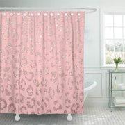 CYNLON Pattern Modern Faux Rose Leopard Pink Hand Drawn Pastel Bathroom Decor Bath Shower Curtain 66x72 inch