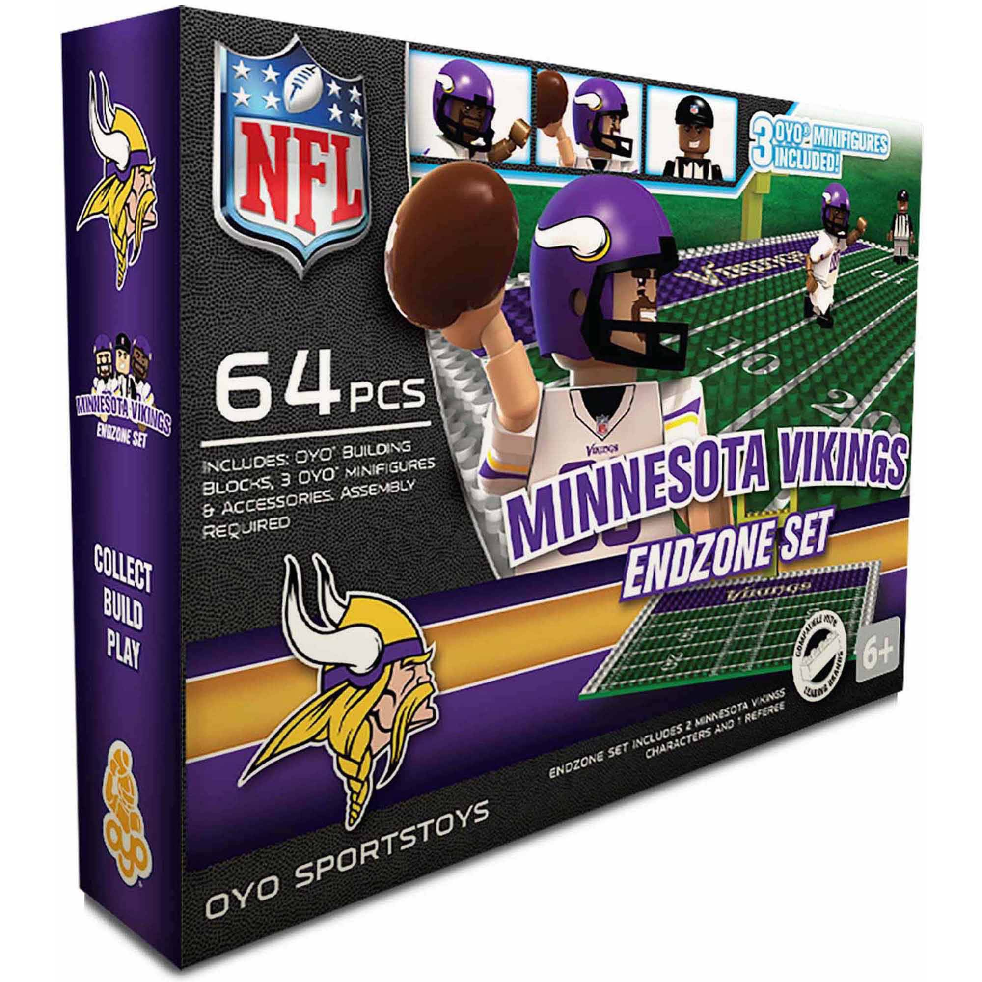 OYO Sports 64-Piece NFL End Zone Building Block Set, Minnesota Vikings