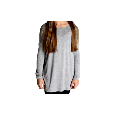 b8be0456ae1 Girls Authentic Long Sleeve Piko, Heather Grey