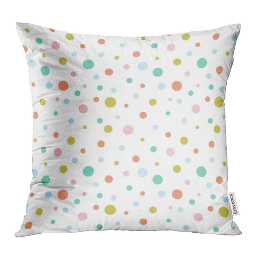CMFUN Pink Ball Colorful Dots Pattern White Pois Circle Kid Small Abstract Pastel Pillowcase Cushion Cover 16x16 inch