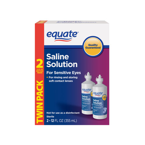 Equate Saline Solution for Sensitive Eyes Twin Pack, 12 fl oz, 2 count