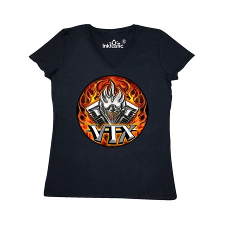 - VTX Flaming Motor Women's V-Neck T-Shirt WickedApparel by Michael Spano