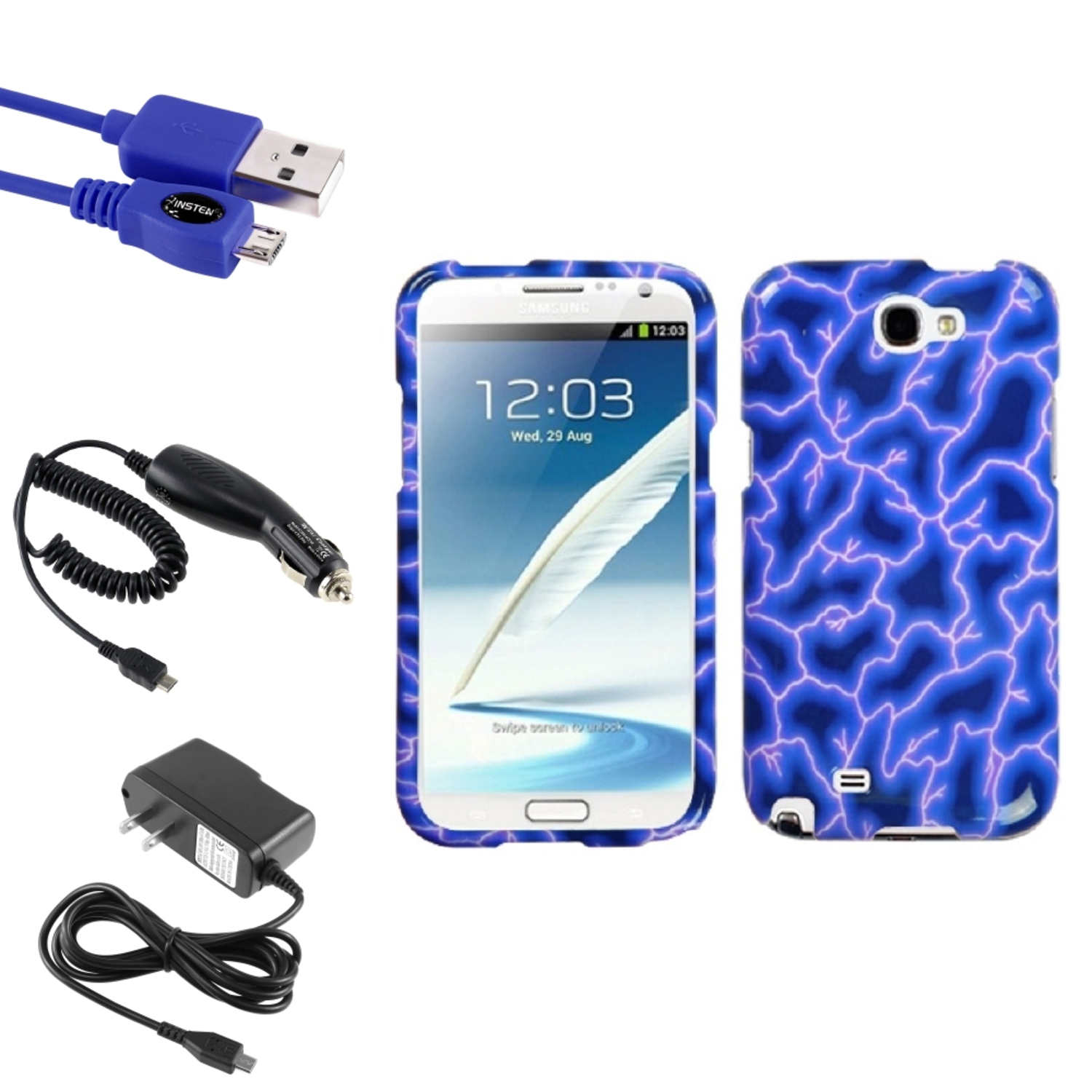 Insten Blue Lightning Hard Case Car Wall Charger 3X USB Cable For Samsung Galaxy Note 2 II