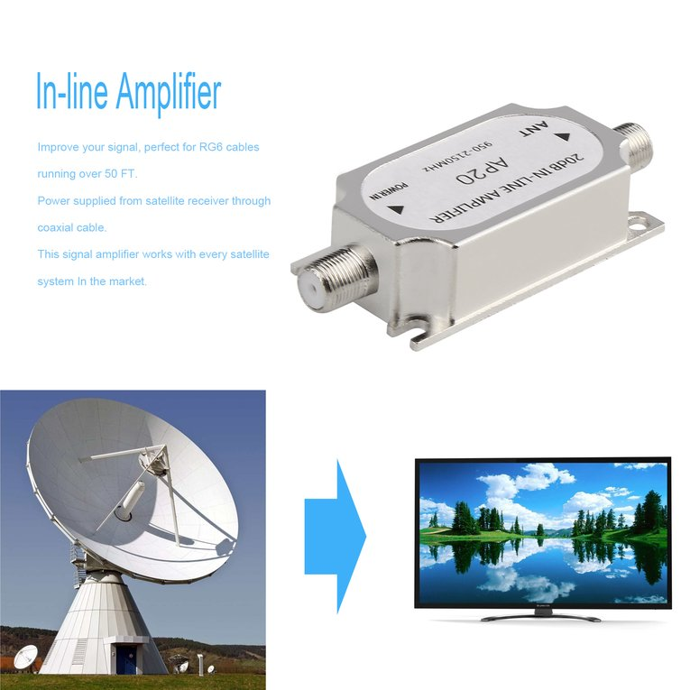 Silver Satellite 20Db In-Line Amplifier 950-2150Mhz Signal Booster For Antenna