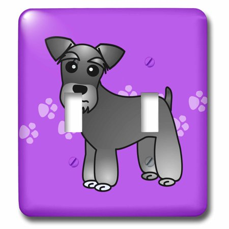 3dRose Cute Miniature Schnauzer Banded Coat (Salt and Pepper) - Cartoon Dog - Purple with Pawprints - Double Toggle Switch (lsp_40881_2)