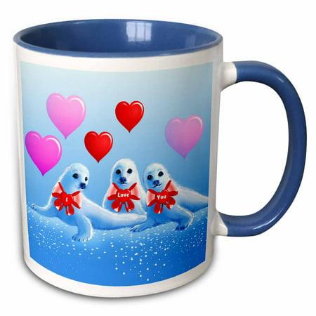 3dRose Baby harp seals, hearts, Valentine, I love you, aquatic animals, sea life - Two Tone Blue Mug, 11-ounce