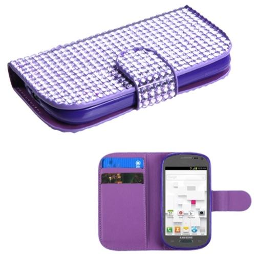 Insten Purple Diamonds Crystal Bling Book-Style MyJacket Wallet Case For SAMSUNG T599 Galaxy Exhibit