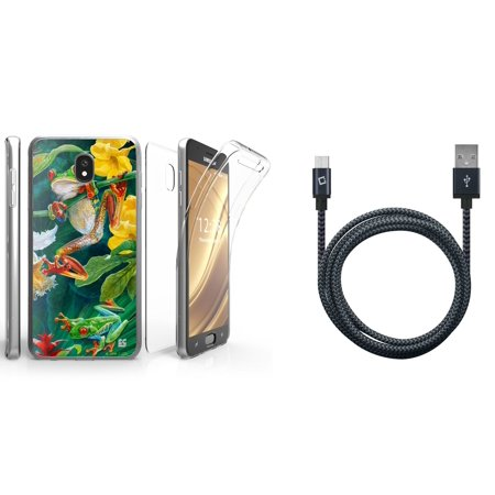Beyond Cell Tri Max Series Compatible with Samsung Galaxy J7 J737 (J7 V 2nd Gen, Refine, Star, Crown, Aura, Top) with Slim Full Body Coverage Case (Rainforest Frog), Heavy Duty USB Cable (5 Feet)
