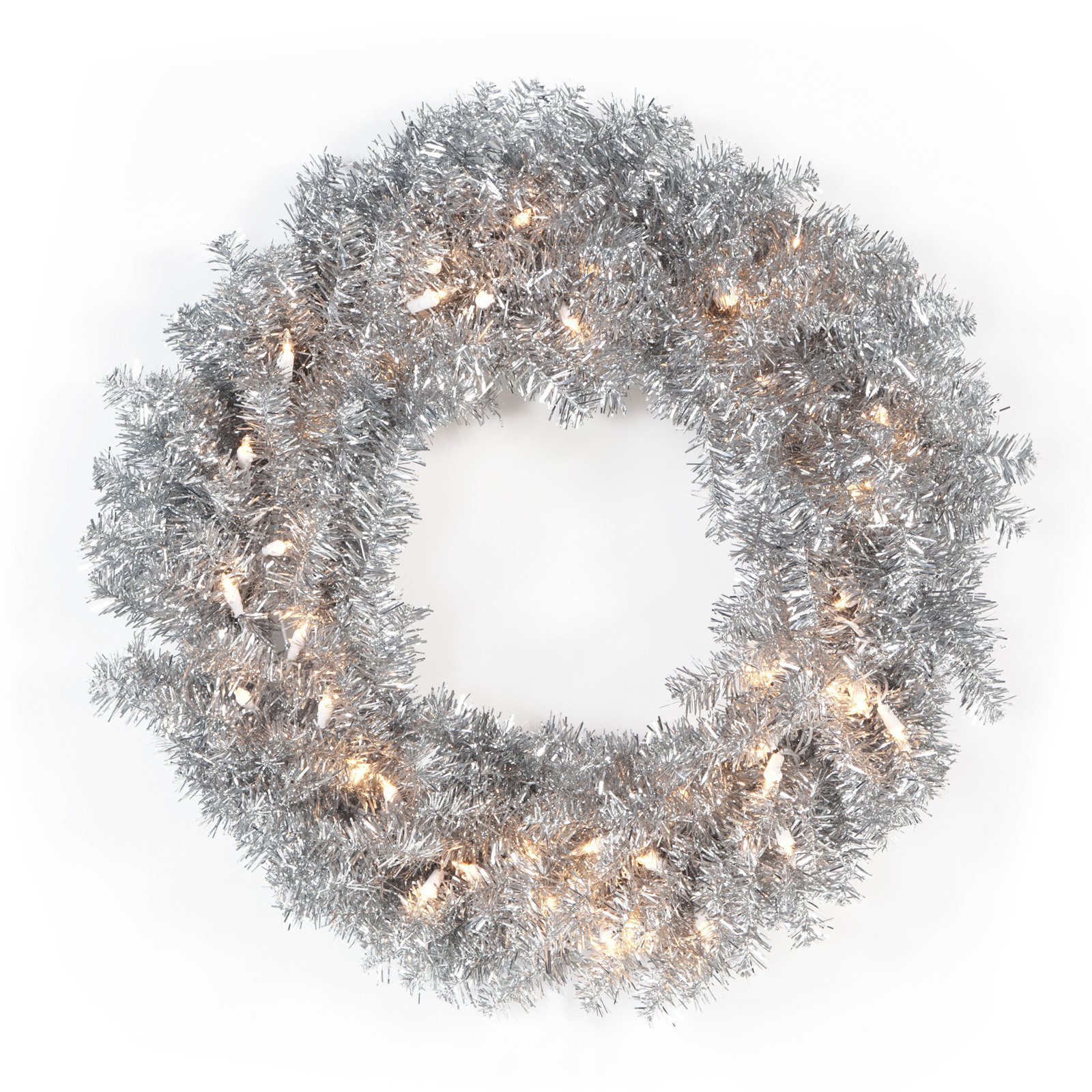 24 in. Classic Silver Pre-lit Wreath