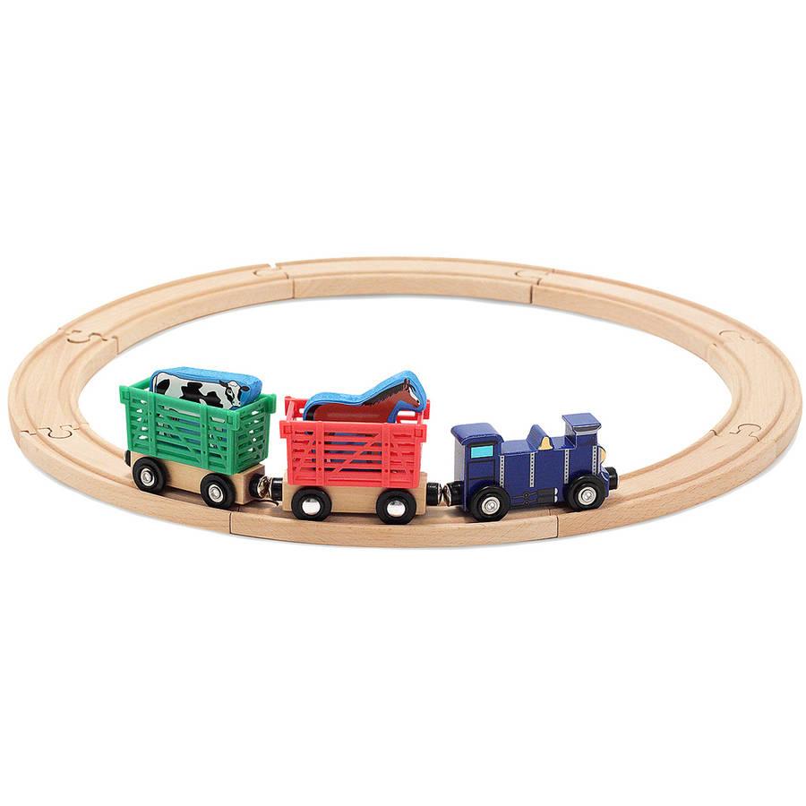 Melissa & Doug Farm Animal Wooden Train Set (12+ pcs) by Melissa %26 Doug