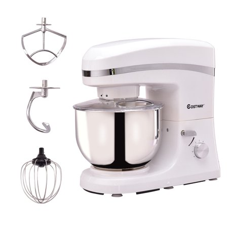 Goplus 6 Speed 5.3Qt 800 W Electric Food Stand Mixer Tilt-Head Stainless Steel Bowl White