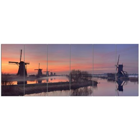 Orange Windmill - Design Art 'Windmills at Sunrise Panorama'  6 Piece Photographic Print Set on Canvas