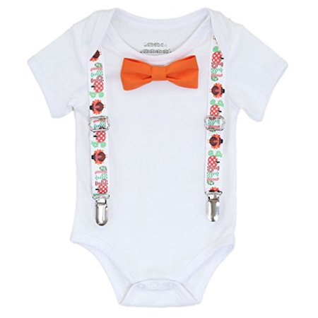 Noah's Boytique Baby Boys Thanksgiving Outfit Gobble Suspenders Bow Tie Newborn