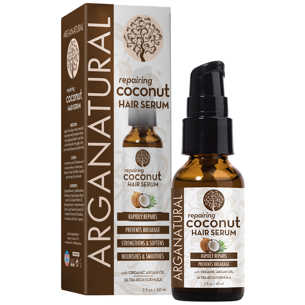 Arganatural Repairing and Smoothing Coconut Hair Serum for Anti-Frizz 2oz
