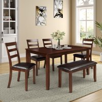 Dining Table Sets Clearance, 6 Piece Wood Breakfast Table with 4 Piece Upholstered Dining Chairs and Bench, Dinette Set with Thick Legs & Brown Finish Frame, for Apartment Breakfast Nook, S12648
