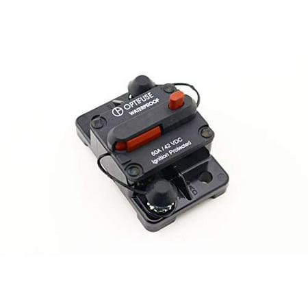 153060 | Optifuse Automotive Circuit Breaker | 58 VDC High Amp | 60A | Type III | Manual Reset | Surface Mount | Bussmann Cross: 185060F-011 - 153060 Amp / 2 Amp Manual
