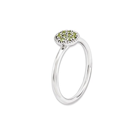 Ladies Natural Peridot Ring 1/5 Carat (ctw) in Sterling Silver - image 2 de 3